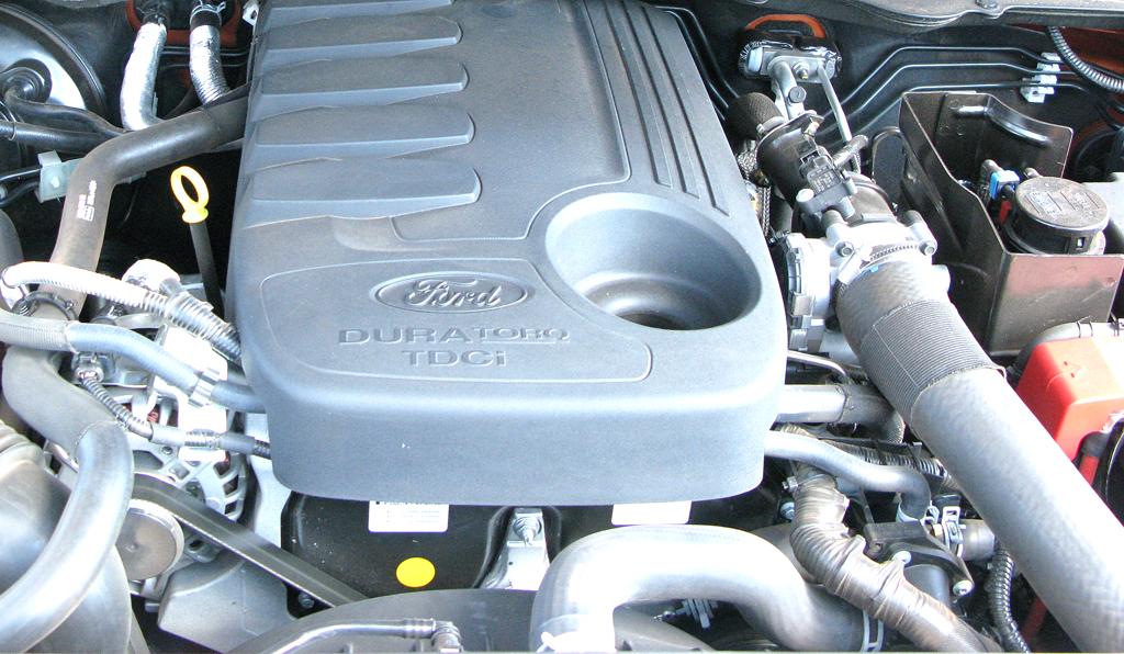 Ford Ranger: Blick unter die Haube, hier auf den 3,2-Liter-Fünfzylinder-Turbodiesel mit 200 PS.