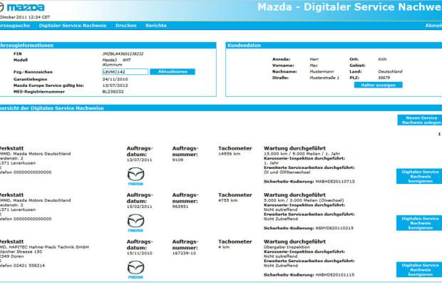 Mazda bietet Digitalen Service Nachweis (DSN)