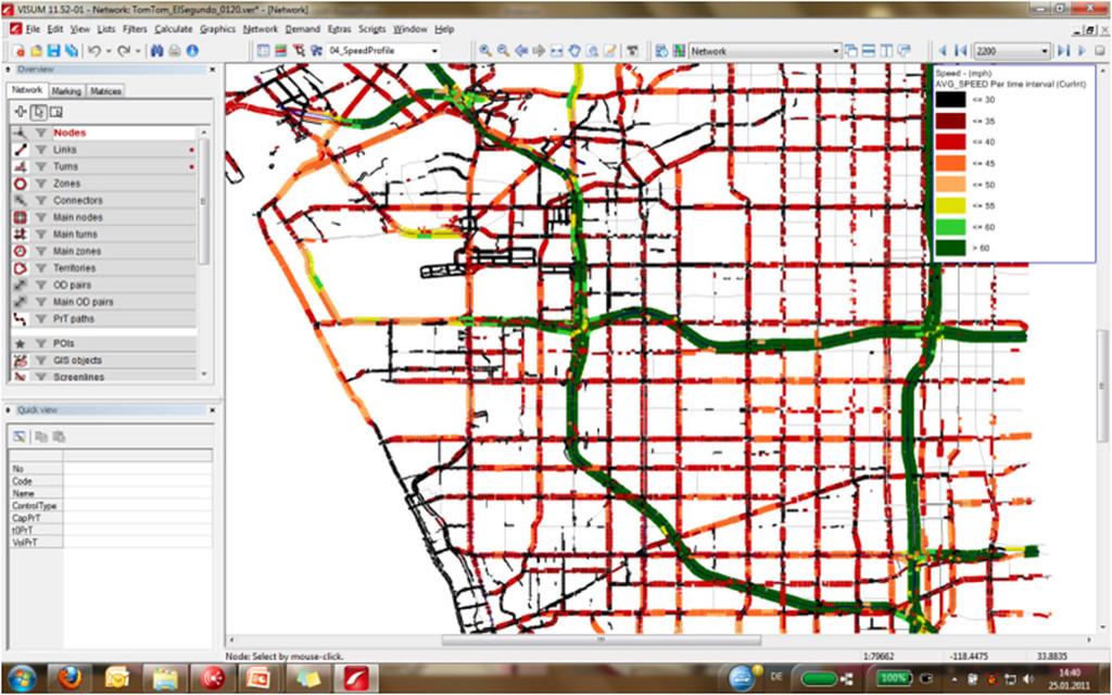 PTV Vision Data Center: Netzweite Geschwindigkeitsinformationen zur Kalibrierung von Verkehrsmodellen.