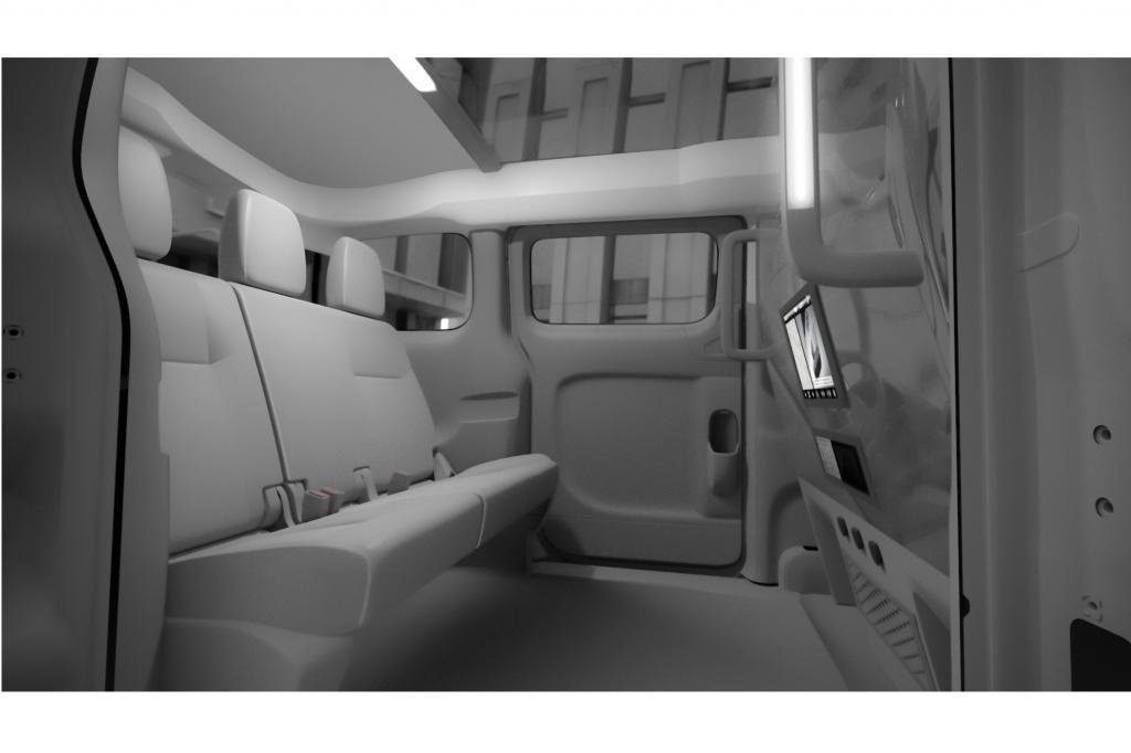 Auf Basis des Minivans NV200 finden im Fond des 4,40 Meter langen Japaners bis zu drei Passagiere Platz