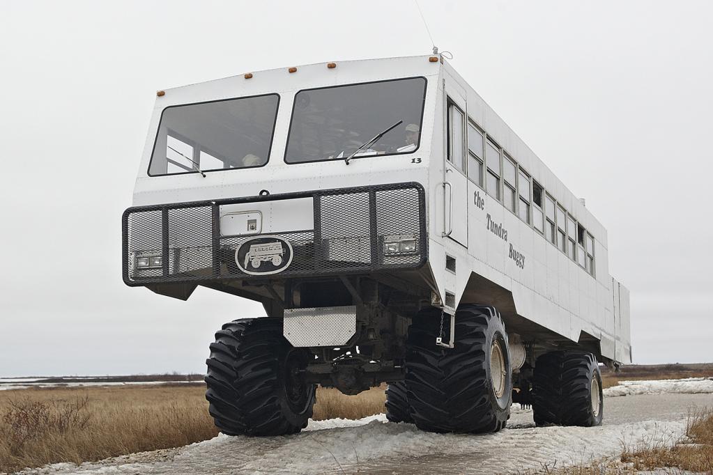 Die Kabine des Tundra Buggy ist ähnlich aufgebaut wie die eines modernen Wohnmobils, sie besteht aus einem Aluminiumgerippe. Große Reifen und niedriger Luftdruck sicher das Fortkommen auf unbefestigtem Boden.