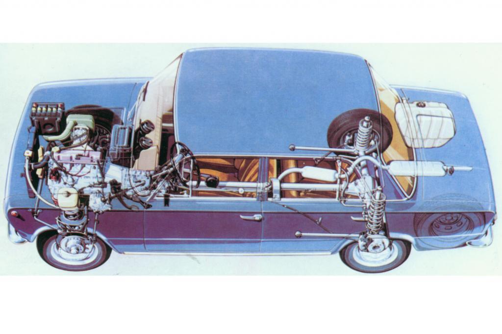 In den 60er-Jahren noch die Standardbauweise: Motor vorn, Antrieb hinten
