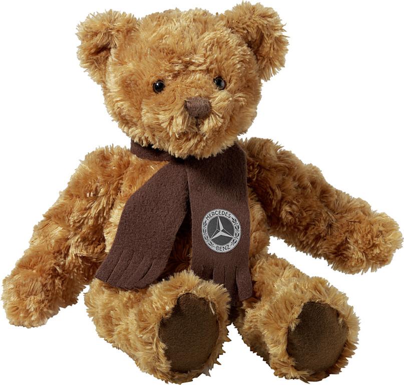 Mercedes-Benz Christmas Stars: Teddybär aus braunem Wirkplüsch mit Schal aus Polyester-Fleece, Größe 35 cm.