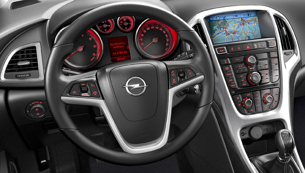 Opel Astra GTC: Blick ins sportlich-funktionell gestaltete Cockpit.