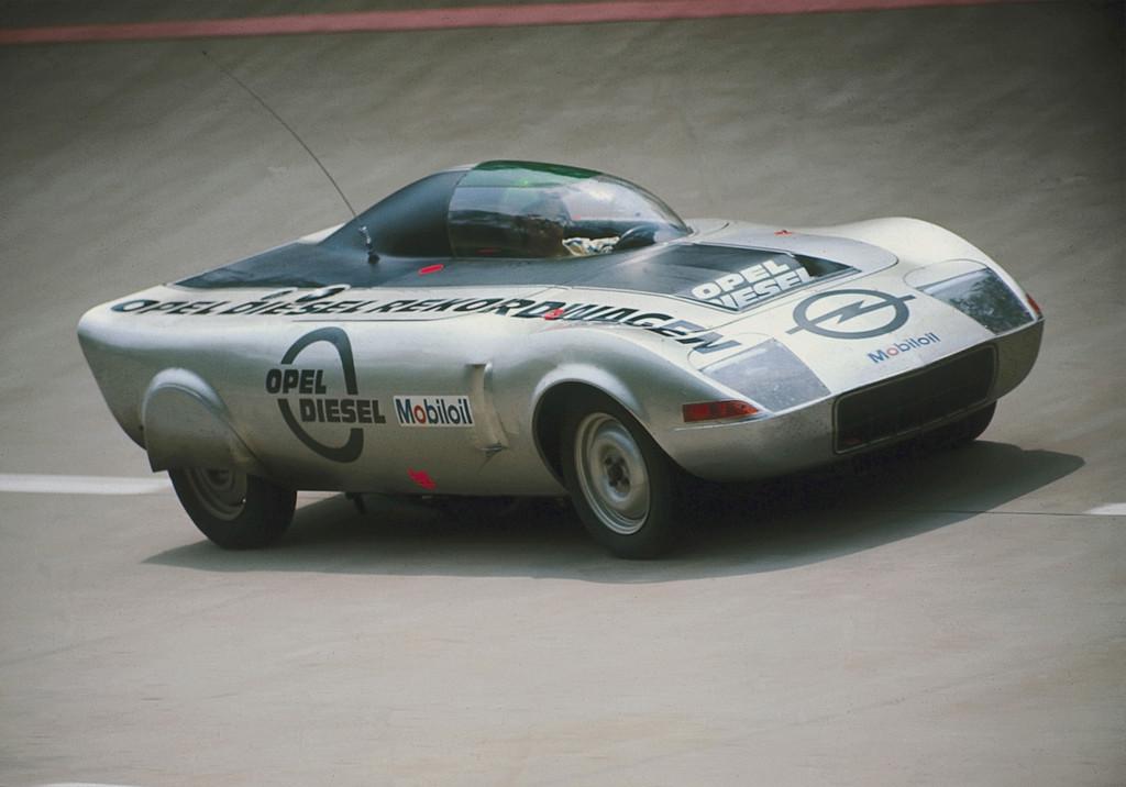 150 Jahre Opel: Diesel-Rekordwagen auf der Basis des GT, 1972.