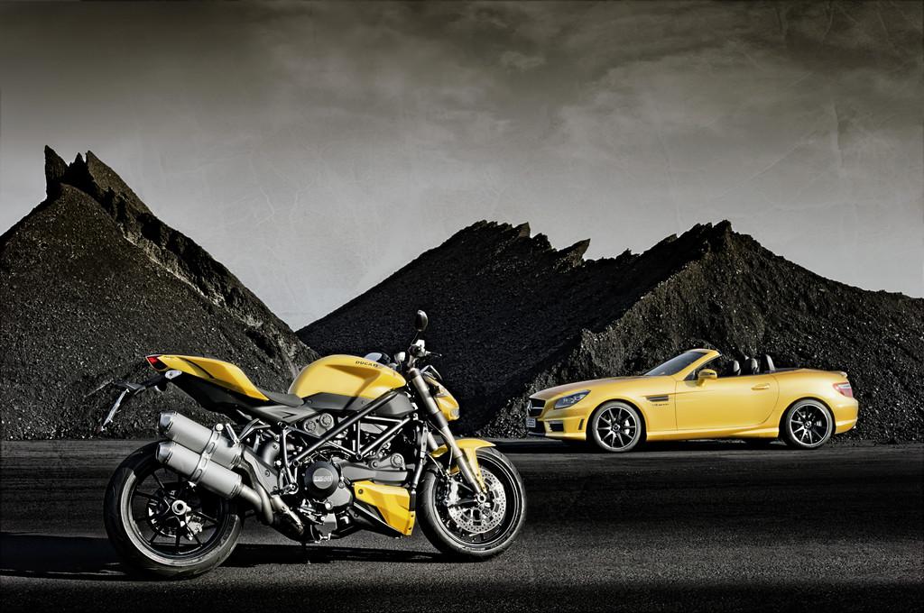 Ganz schön gelb: AMG und Ducati gemeinsam in Bologna
