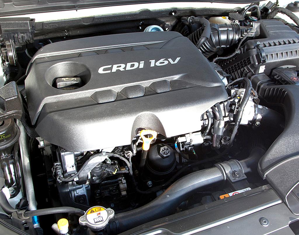 Kia Optima: Blick unter die Haube des 100 kW/136 PS starken Diesels.