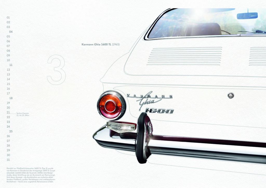 Volkswagen-Classic-Kalender 2012: Karmann Ghia 1600 TL.