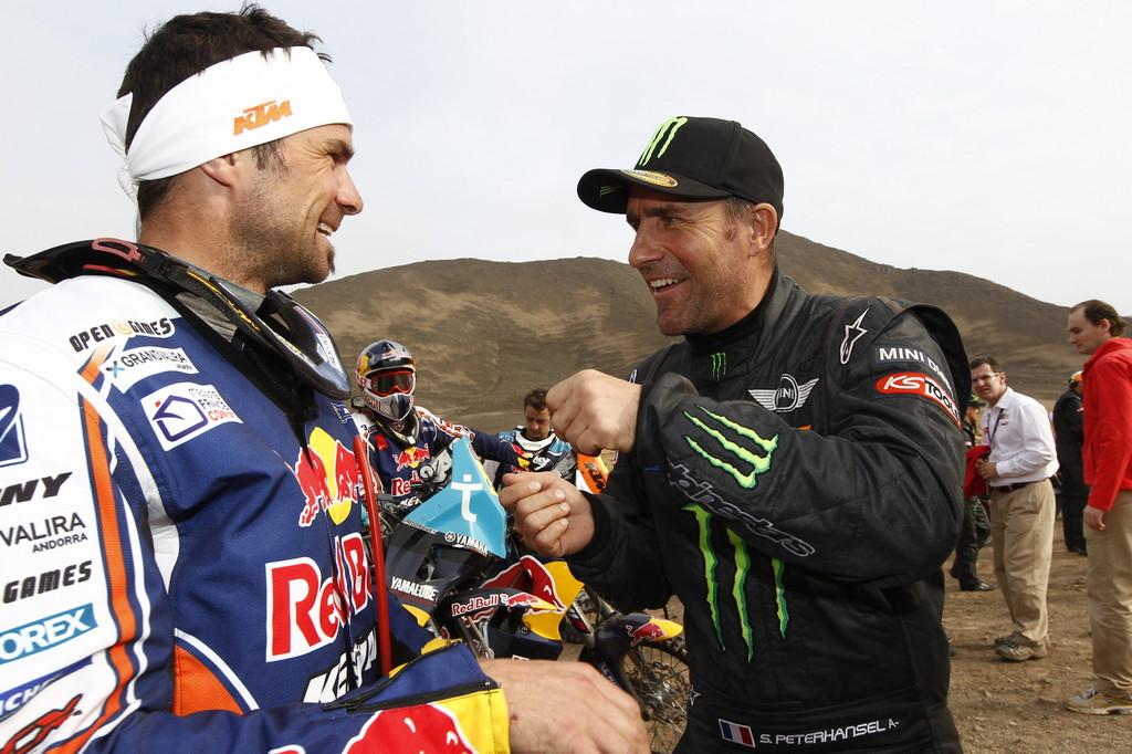 Dakar-Gewinner 2012: Die beiden Franzosen Cyril Despres (links) und Stéphane Peterhansel.