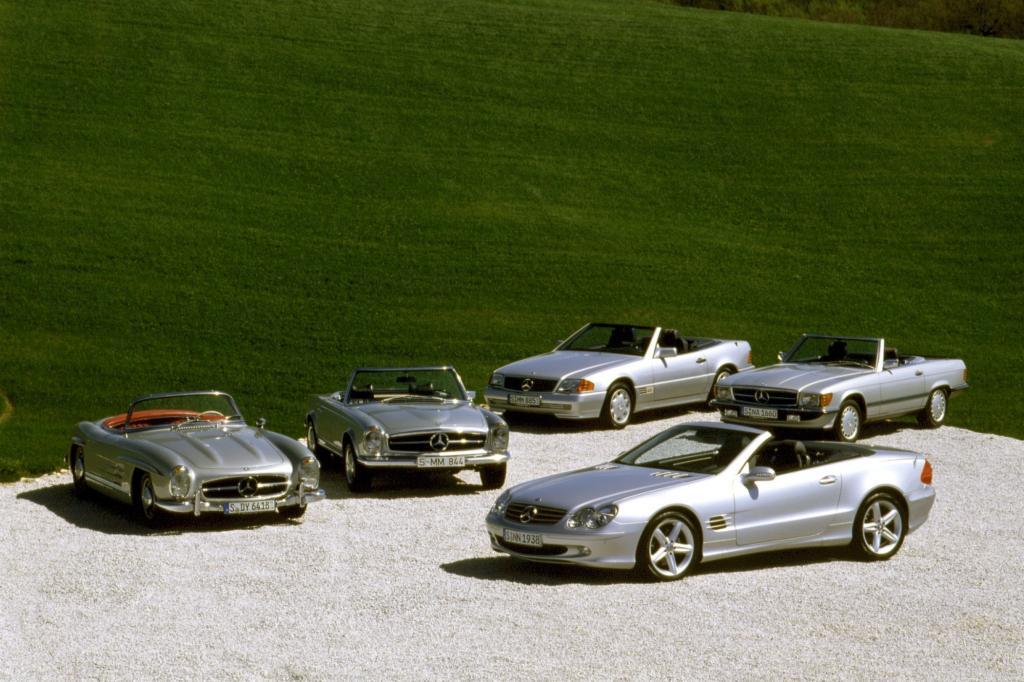 Die ersten fünf Generationen SL im Gruppenfoto