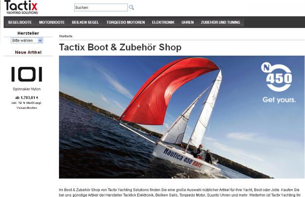 Tactix Yachting Solution: Online Shop für Boote, Ausrüstung und Zubehör