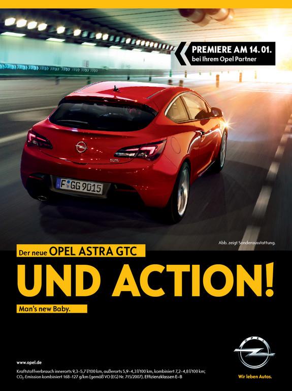 Umfangreiche Print- und Onlineanzeigen unterstützen den Marktstart des Opel Astra GTC.