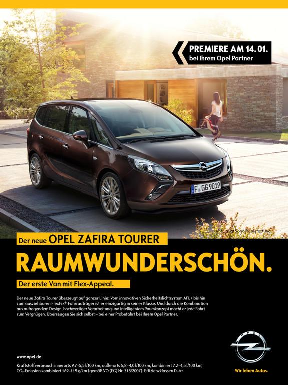 Umfangreiche Print- und Onlineanzeigen unterstützen den Marktstart des Opel Zafira Tourer.