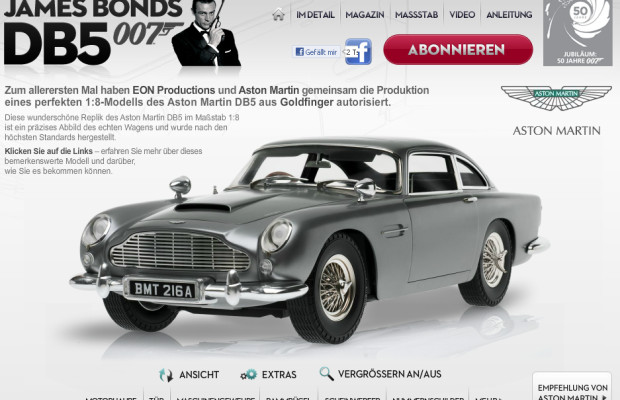 Aston Martin DB5: Bond-Mobil als Selbstbausatz im Maßstab 1:8