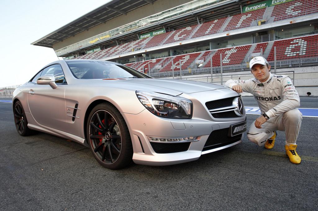 Mercedes SL 63 AMG und Nico Rosberg.