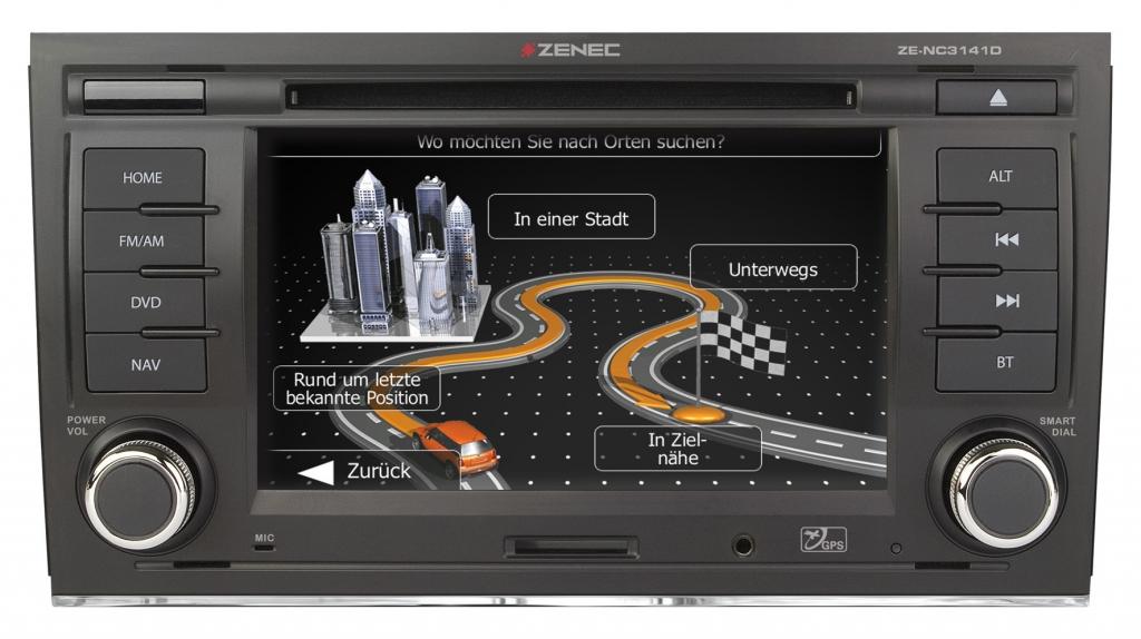 Zenec Navi für Audi A4 zum Festeinbau