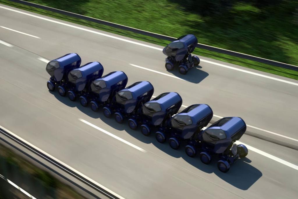 Der Wagen von der Größe eines Smart Fortwo kann etwa seine Räder um 90 Grad drehen