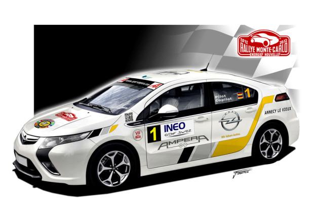 Opel Ampera bei der Rallye Monte Carlo