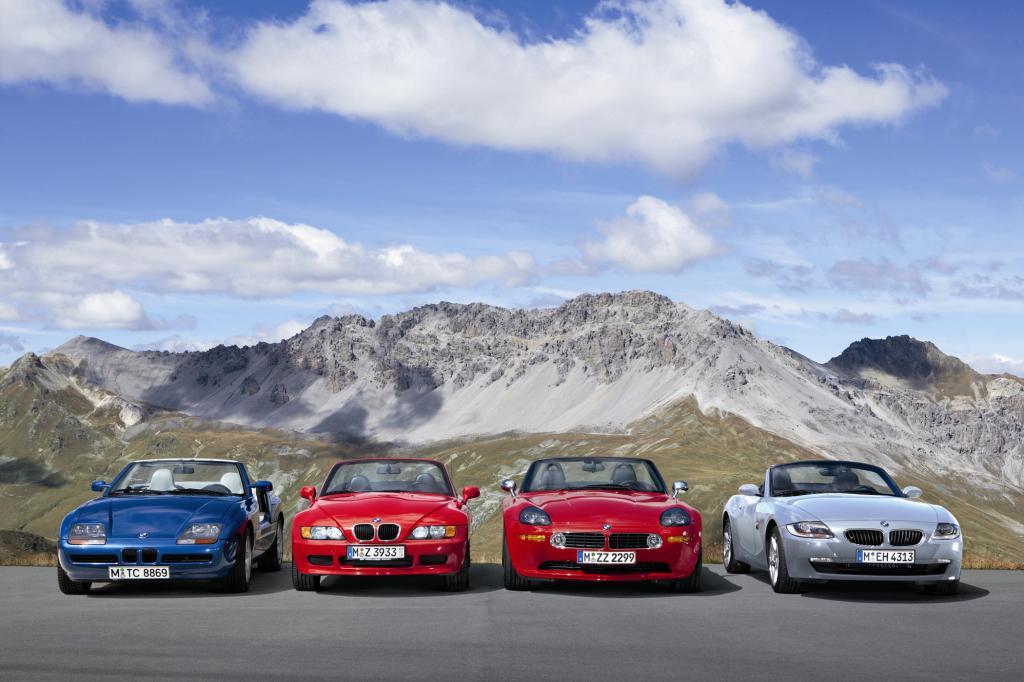 BMW Z Reihe von links nach rechts: Z1,Z3,Z8,Z4