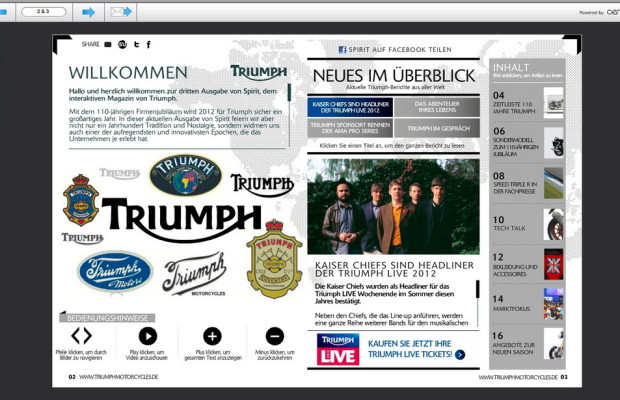 E-Magazin von Triumph mit kompletter Historie