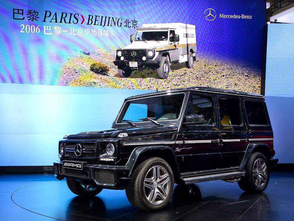 Konzernforschungs- und Mercedes-Entwicklungsvorstand Professor Thomas Weber bei der Vorstellung der neuen G-Klasse in Peking, hier einer der beiden AMG-Versionen.