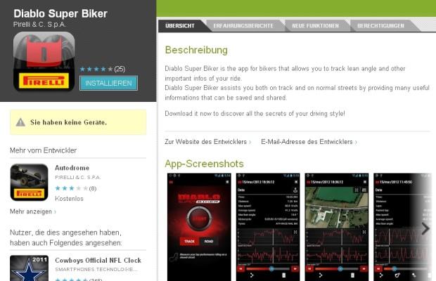Motorrad-Datarecording per Smartphone-App