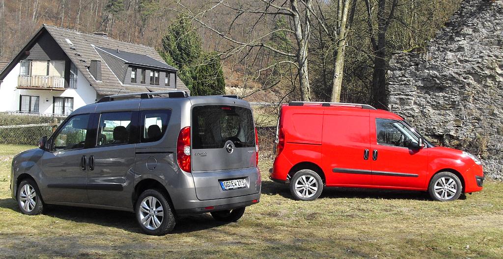 Opel Combo: Nutzwertiges Duo, links der Personen-, rechts der Kastenwagen.