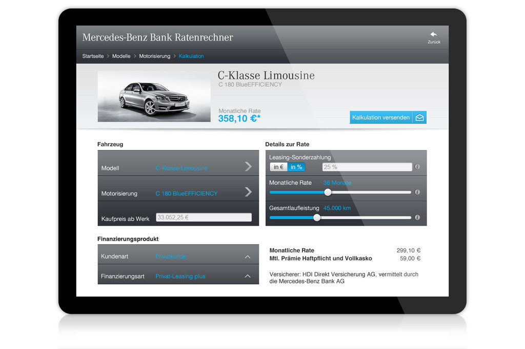 Mercedes-Benz-Bank startet mobile Raten-Kalkulation