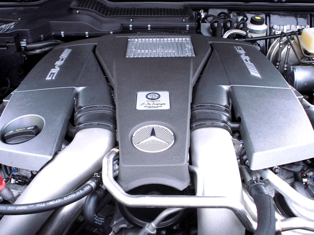 Mercedes G-Klasse: Blick unter die Haube, hier beim AMG-Achtzylinder-Biturbo.