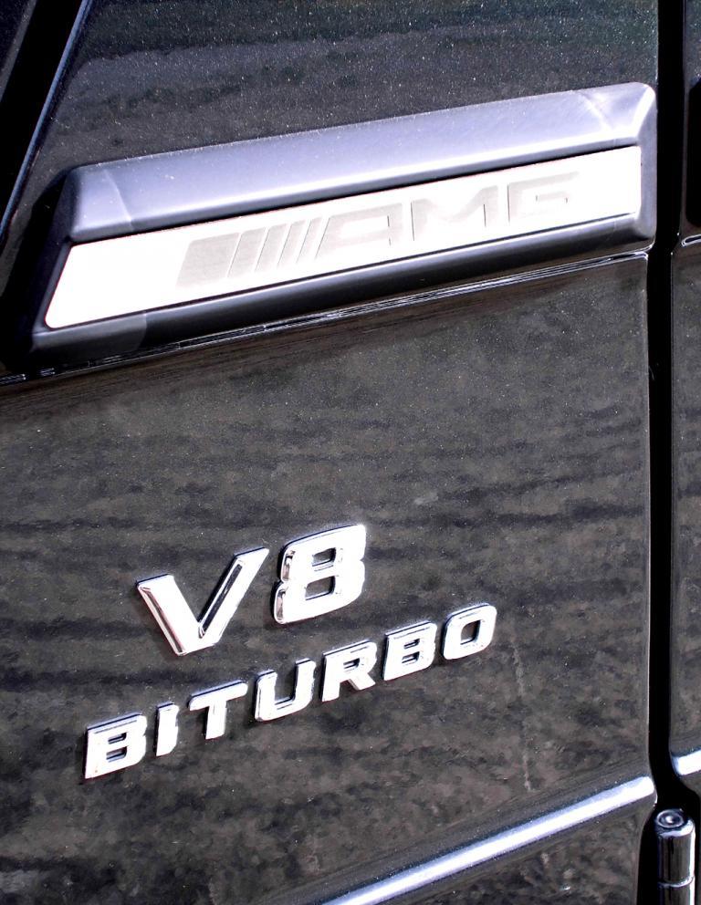 Mercedes G-Klasse: Marken- und Motorisierungsschriftzüge an der Seite.