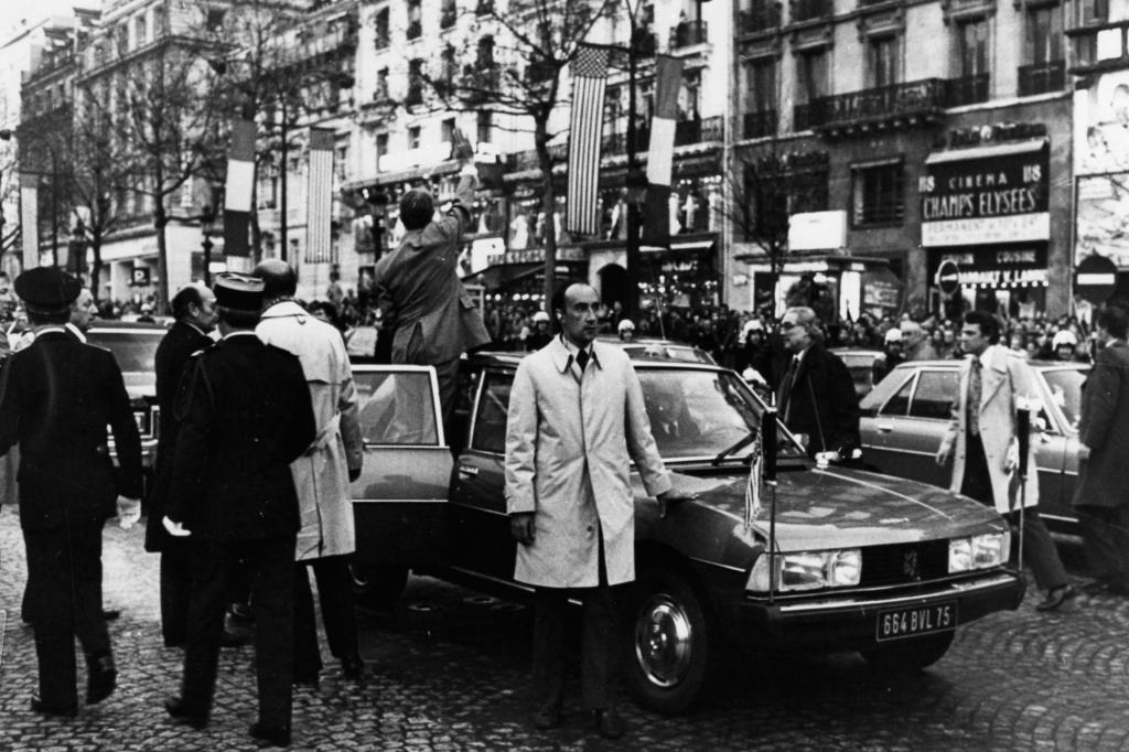 Peugeot 604 mit Valery Giscard d'Estaing und Jimmy Carter 1977