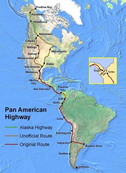 Die Panamericana auf der Karte - Bild: Wikipedia