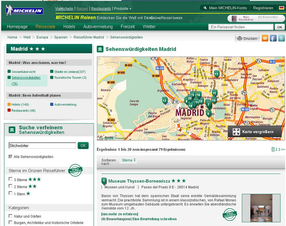 Grüne Reiseführer von Michelin jetzt auch online