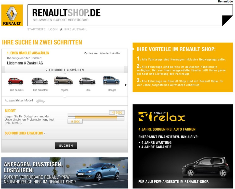 Renault präsentiert Neuwagenbörse