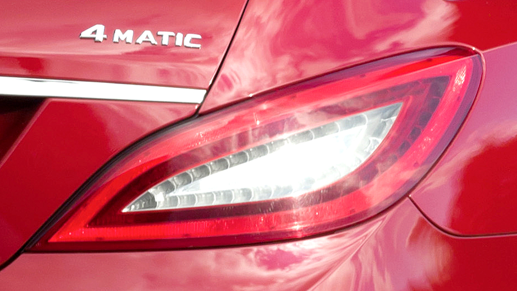 Mercedes CLS Shooting Brake: Moderne Leuchteinheit hinten mit (Allrad-)Antriebsschriftzug.