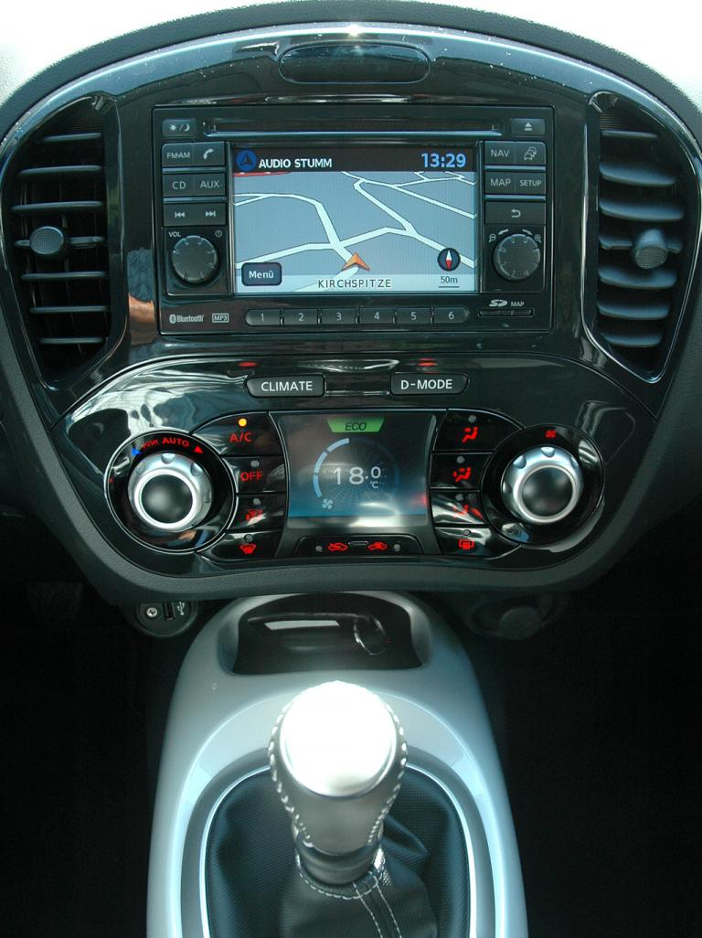 Nissan Juke: Blick auf den mittleren Armaturenträger.
