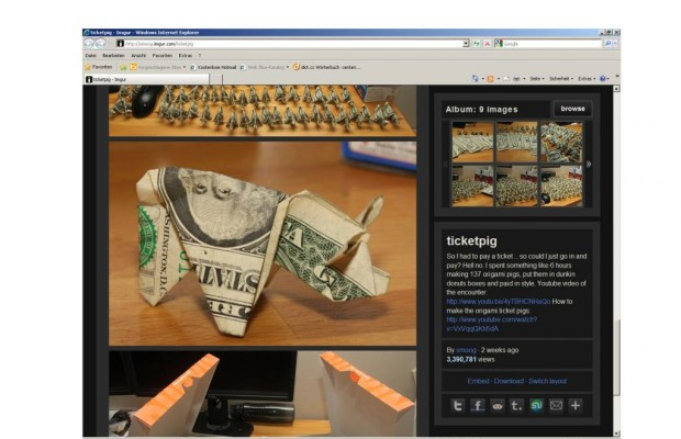 Schwein zum Schein: Strafmandat mit gefalteten Geldnoten bezahlt