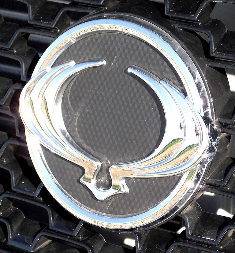 Blick auf das Logo der Marke vorn im Kühlergrill des Pickups.