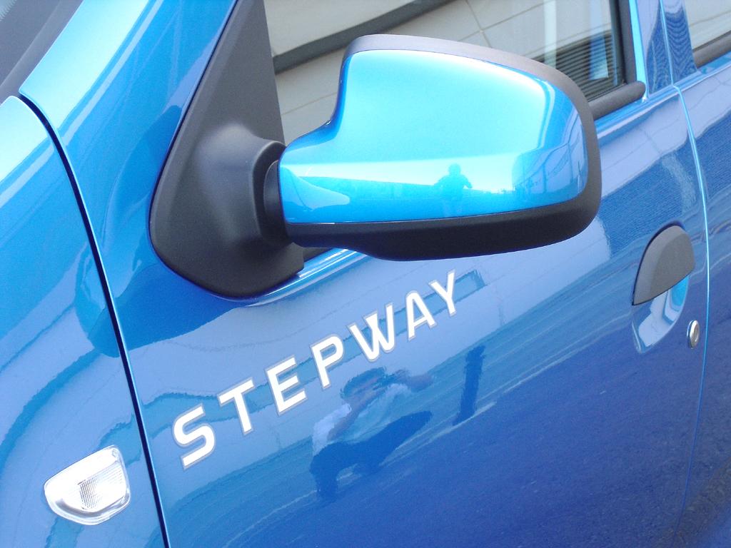 Dacia Sandero Stepway: Blick auf den Außenspiegel auf der Fahrerseite mit Modellschriftzug.