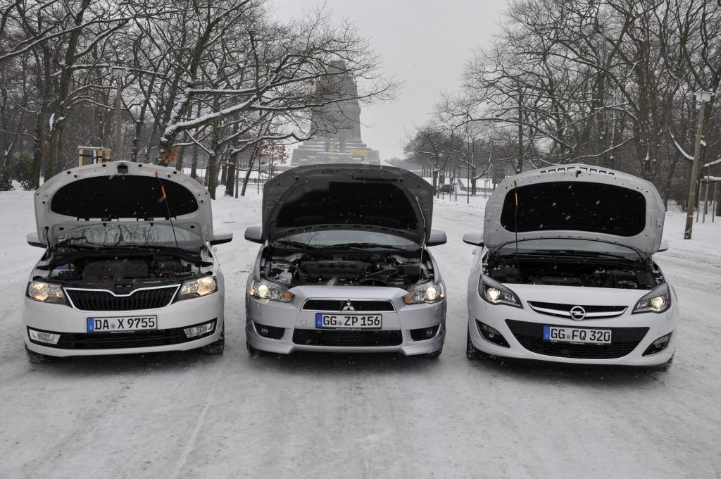 Die Škodamotoren leisten 75–122 PS, Mitsubishi bietet 117 und 140 PS, Opel liefert 95–180 PS