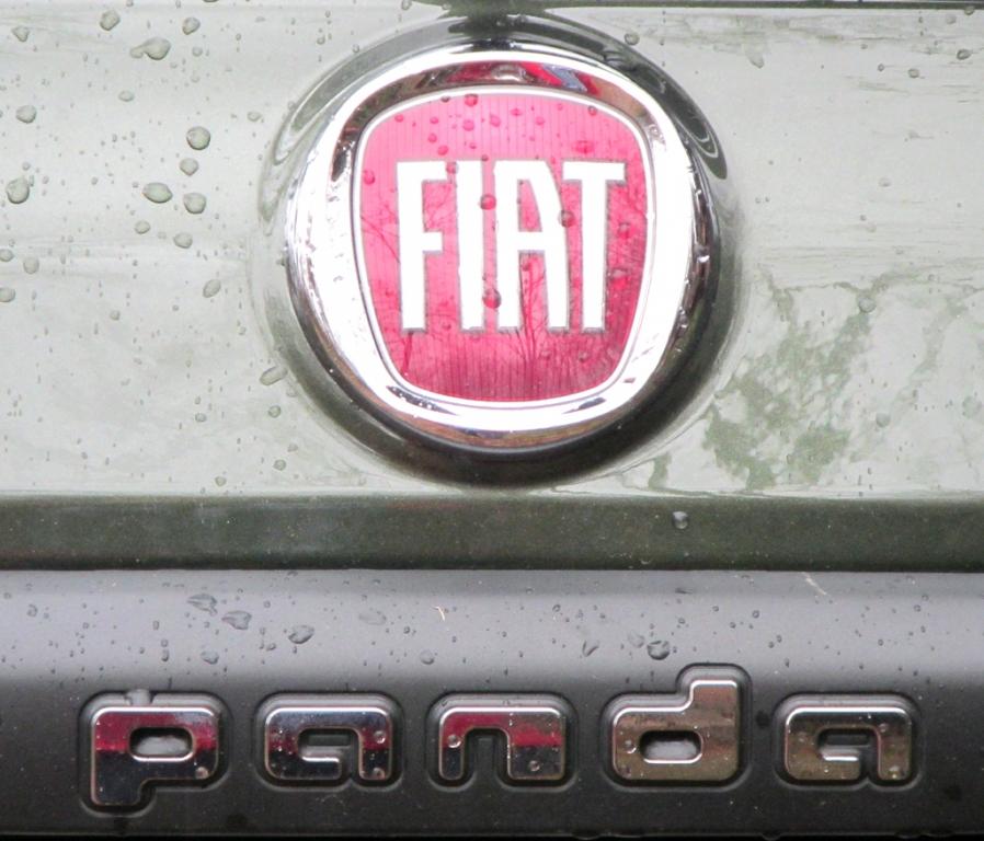 Fiat Panda 4x4: Markenlogo und Modellschriftzug auf der Heckklappe.