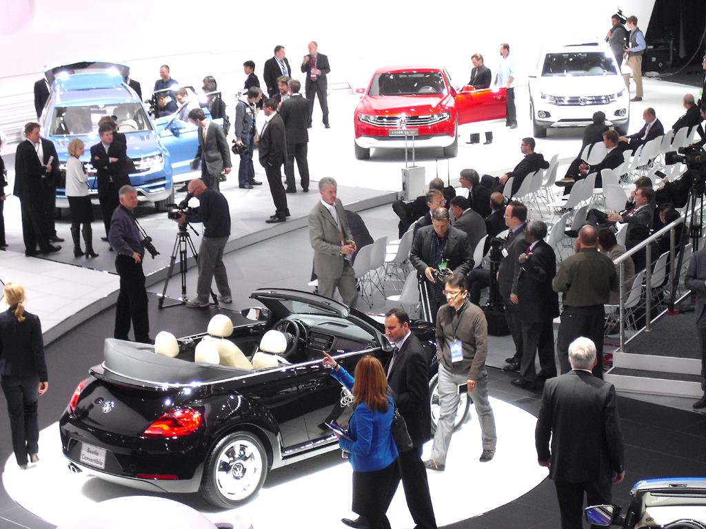 Blick auf den VW-Stand bei der Autoschau in Detroit.