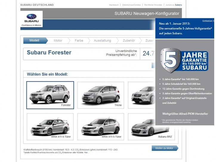 Subaru mit neuem Fahrzeug-Konfigurator
