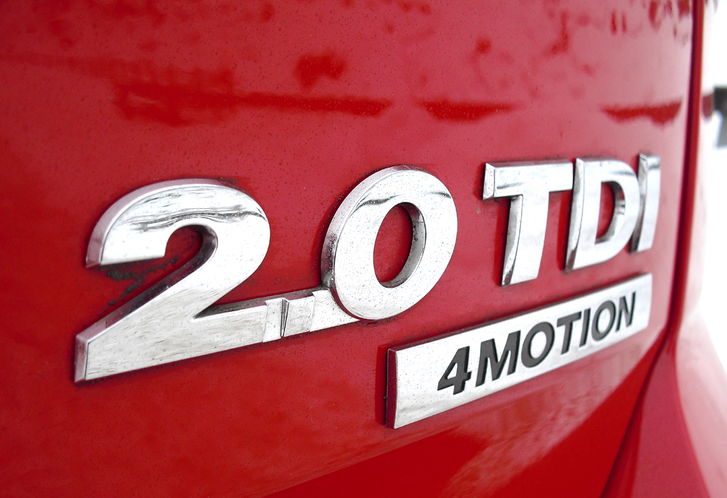 VW Golf 4Motion: Motorisierungs- und Antriebsschriftzug am Heck.