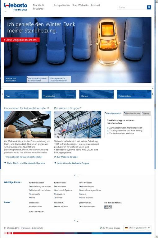 Webasto strukturiert Internetauftritt neu