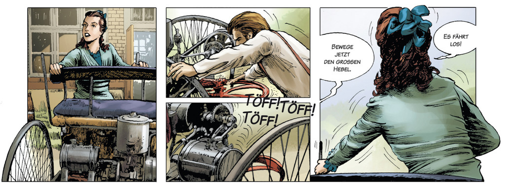 Der Lebensweg von Carl Benz als Comic