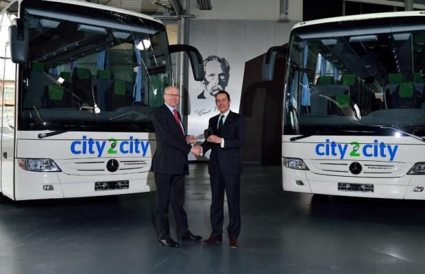 In neuen Fernlinienbussen auf City2city-Tour