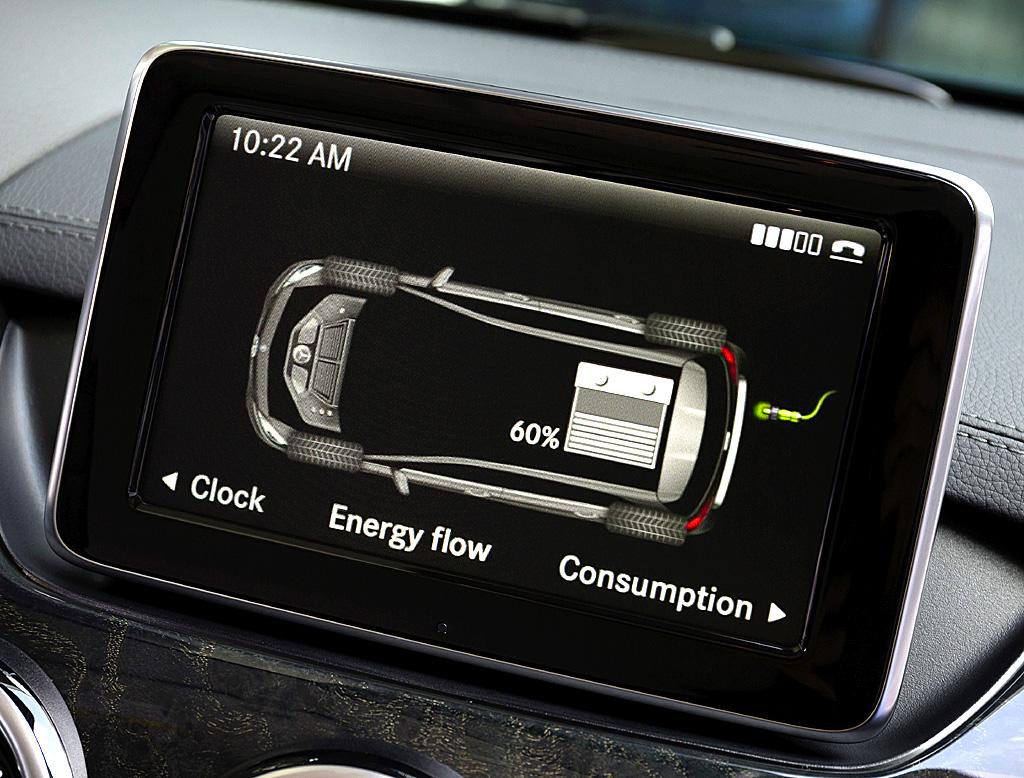 Mercedes B-Klasse Electric Drive: Blick auf den Telematik-Bildschirm.