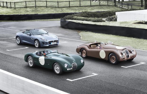 Jaguar mit illustrer Pilotenriege bei der Mille Miglia