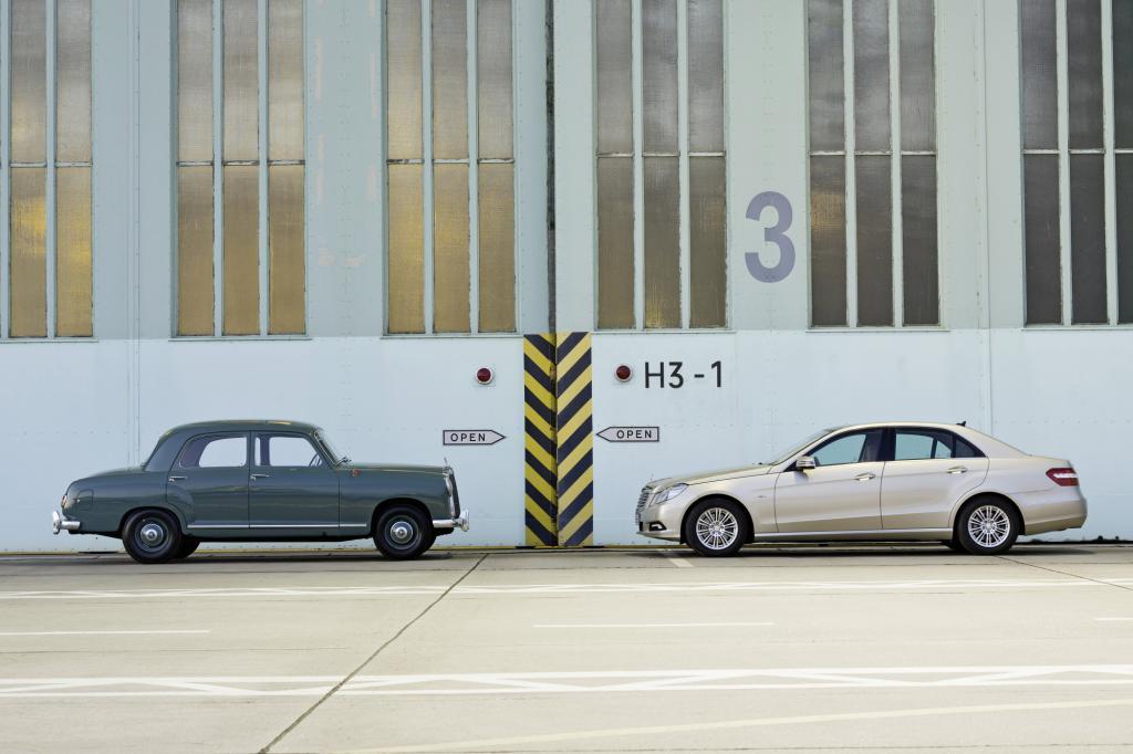 Mercedes Benz Ponton von 1953 und E-Klasse von 2009